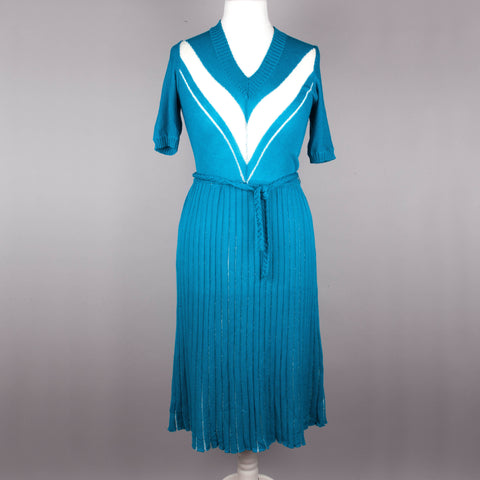 1970s turquoise fine knit vintage midi dress