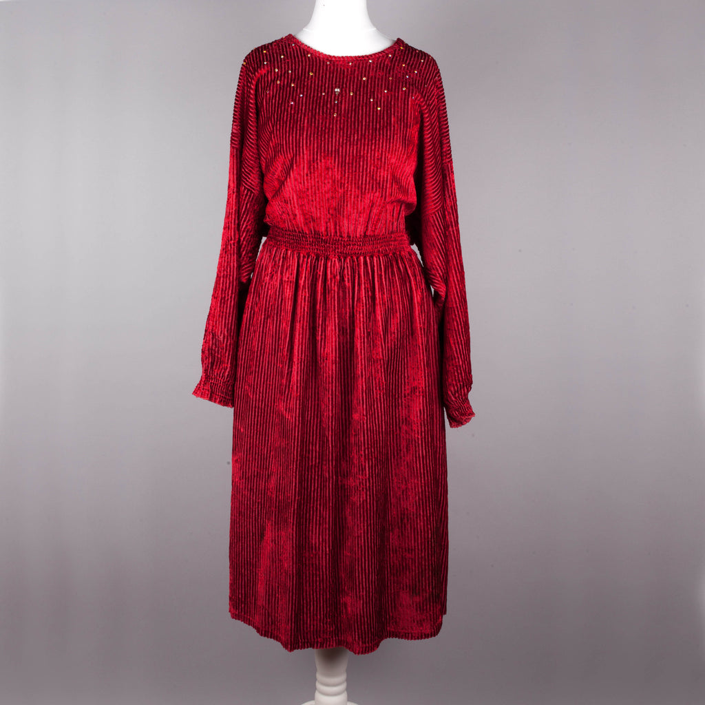 1980s raspberry red day to evening dress