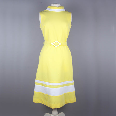 1960s yellow belted vintage dress