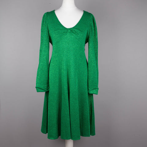 1970s emerald green lurex vintage dress