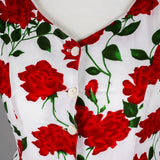 1980s red roses vintage fit and flare dress