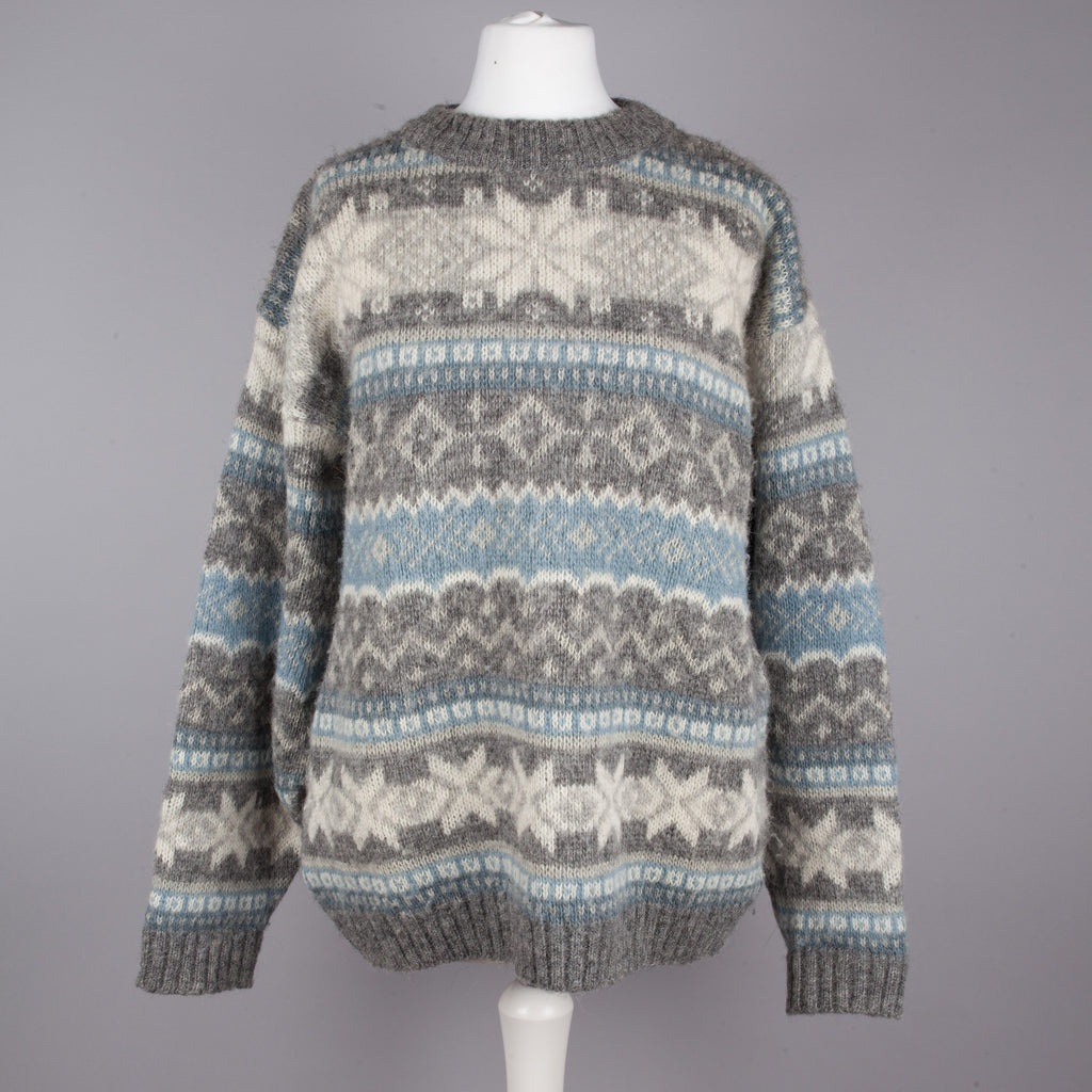 Grey and blue Icelandic knit boyfriend sweater