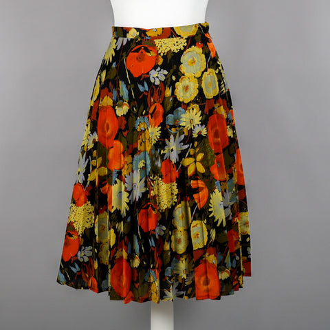 1980s floral chiffon pleated skirt