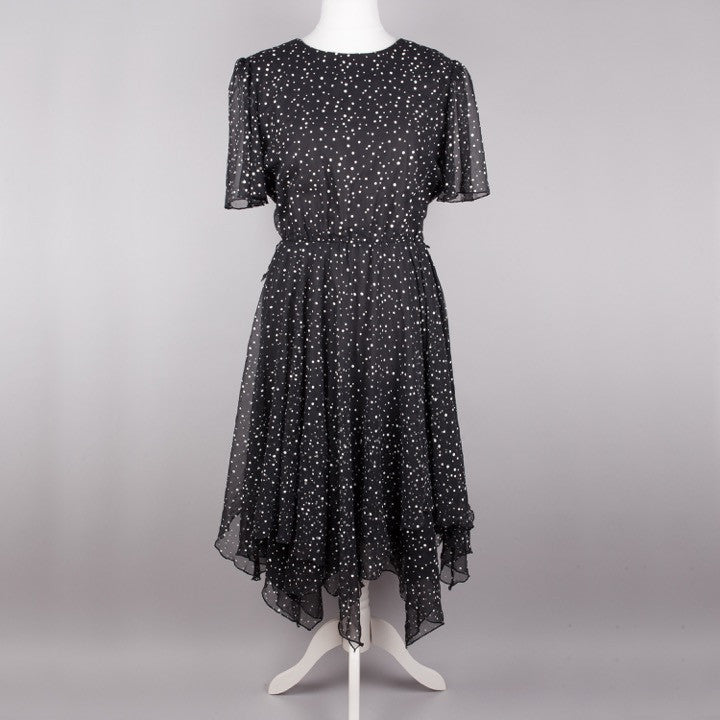 1980s floaty chiffon polkadot dress