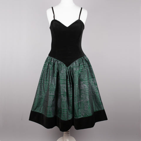 1980s black and green vintage party dress