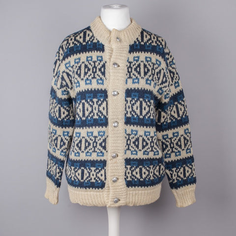 Blue and cream chunky knit Nordic cardigan