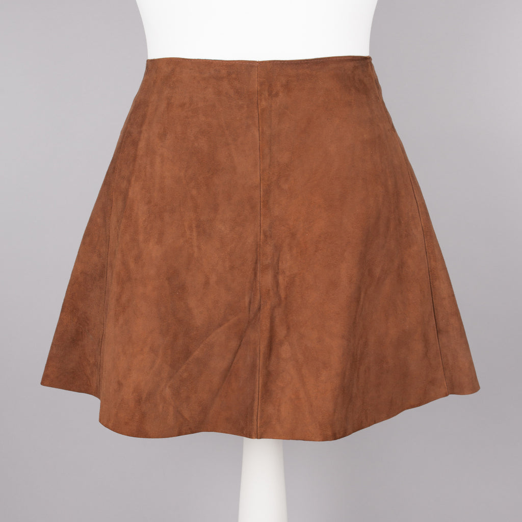 1960s tan suede vintage mini skirt