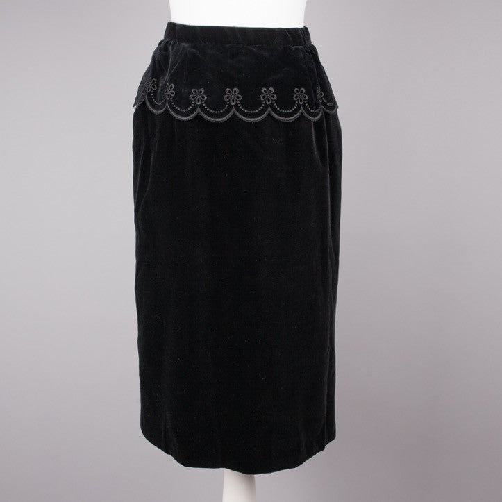1970s black velvet vintage evening skirt