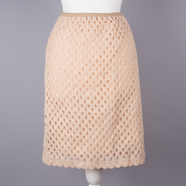 1960s peach crochet vintage skirt