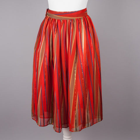 1980s metallic stripe skirt by Caroline Charles