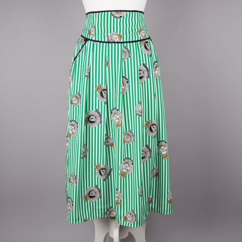 1980s nautical theme high waist skirt