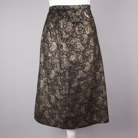 1980s black and gold vintage pencil skirt