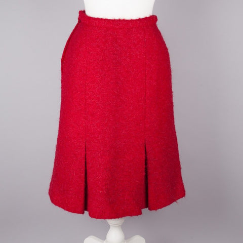 1960s raspberry red kick pleat vintage skirt