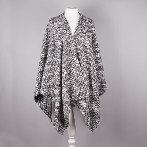 Black and white tweed effect blanket wrap