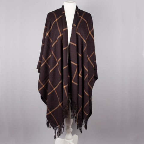 brown plaid vintage blanket wrap/shawl
