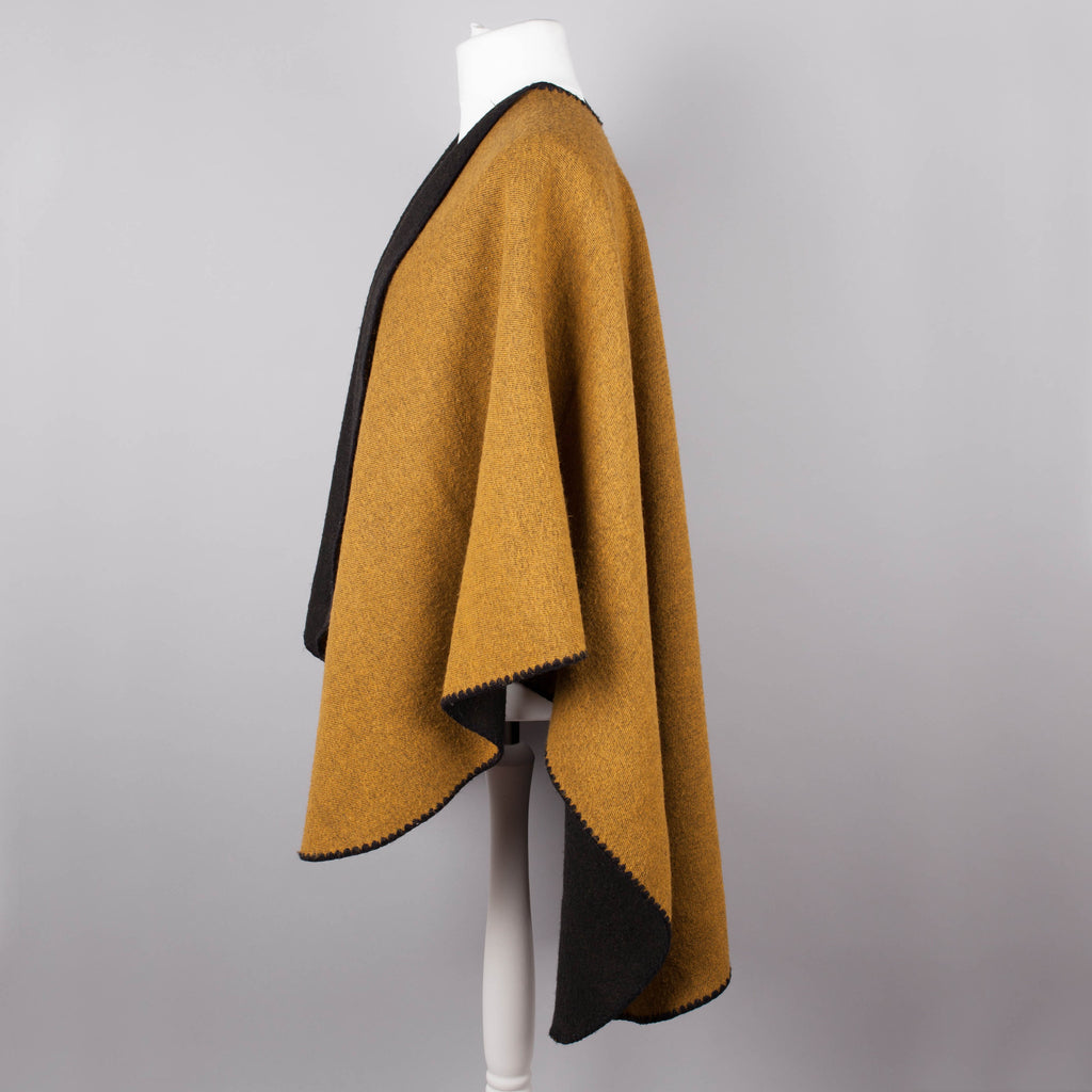 Black and ocre vintage blanket wrap