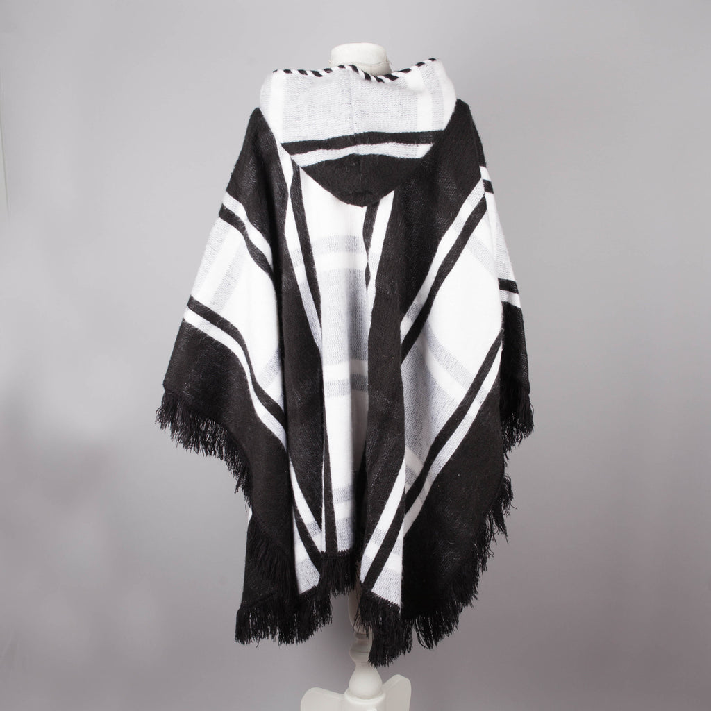 black and white hooded vintage poncho