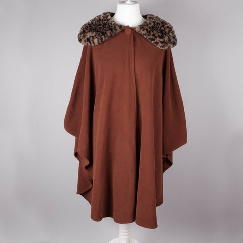 Leopard print collar vintage fleece cape