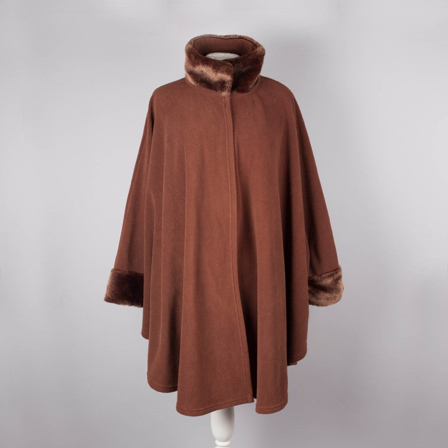 Brown fleece and faux fur vintage cape