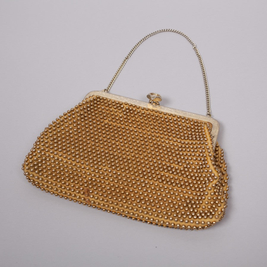 1950s gold beaded vintage evening bag