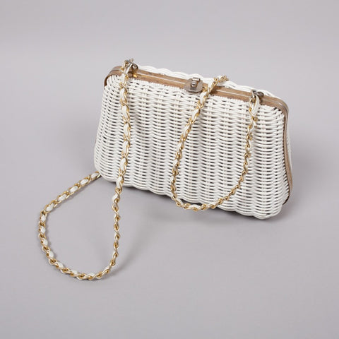 1950s white wicker vintage box bag