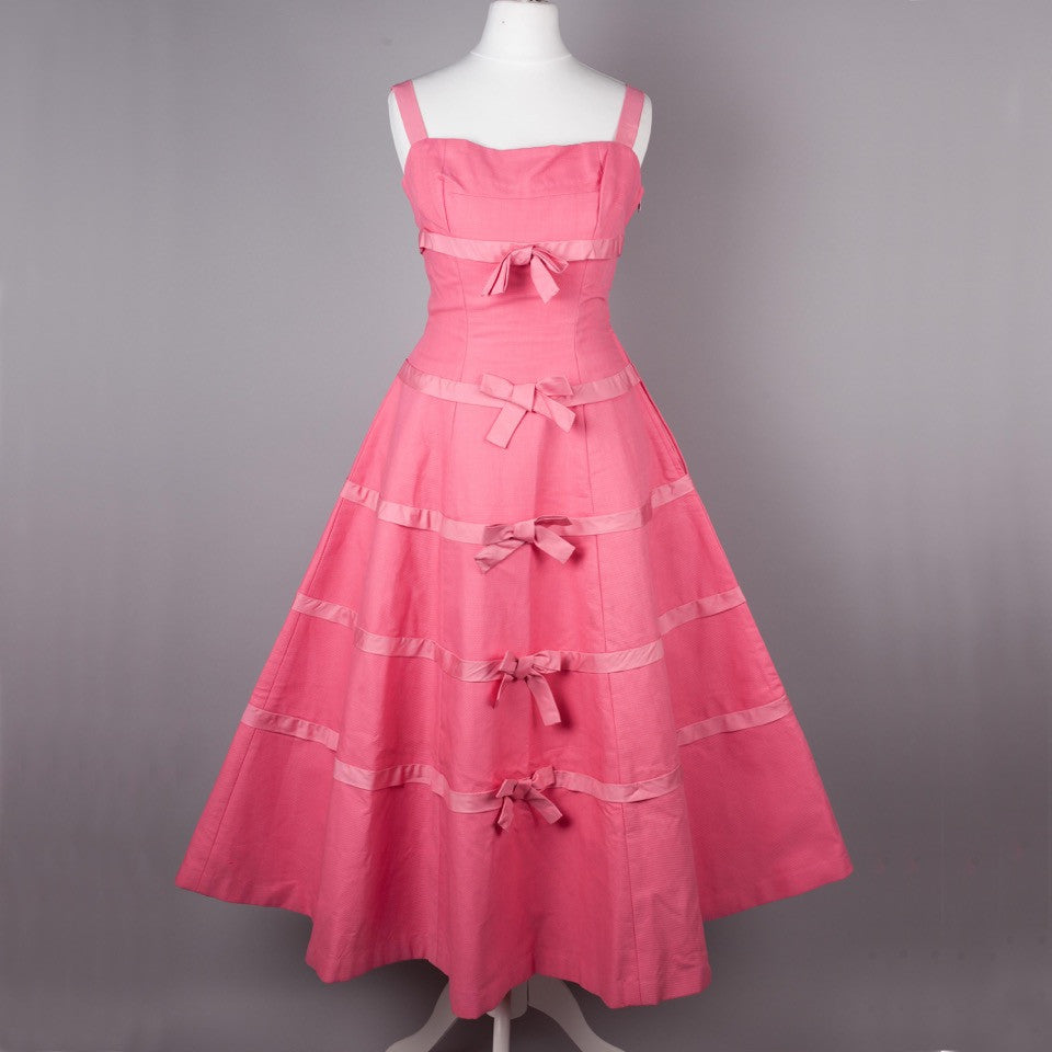 1950s rare pink Horrockses vintage party dress