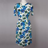 1950s blue floral vintage cocktail dress