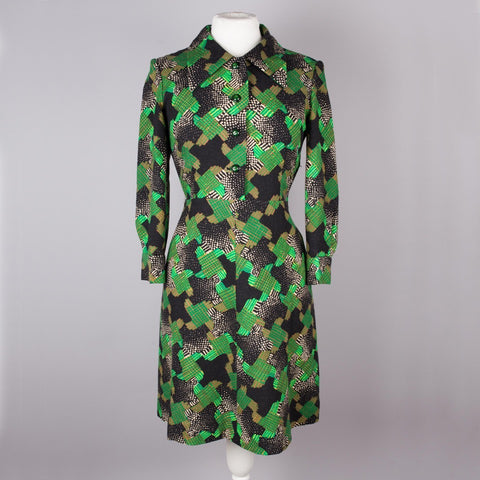 1970s green and black patchwork shirt dress