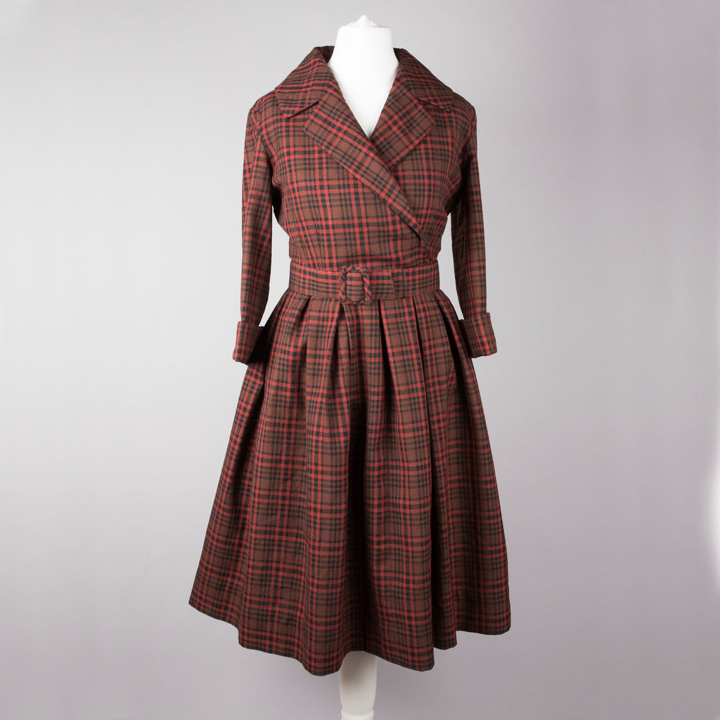 1950s red and black plaid vintage day dress