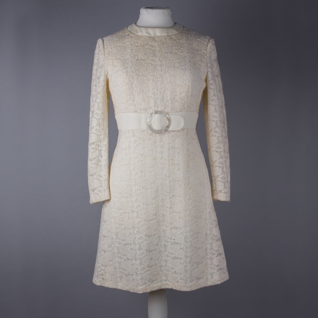 1960s cream lacy vintage dress