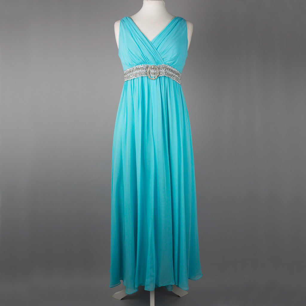 1960s turquoise goddess style evening gown