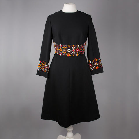 1970s embroidered black vintage day dress