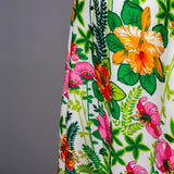 1970s graduated floral evening dress