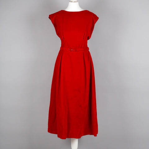 1960s red velvet vintage cocktail dress