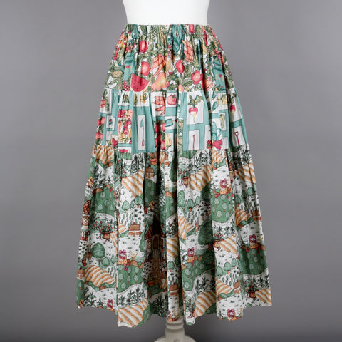 1970s whimsical print full circle skirt