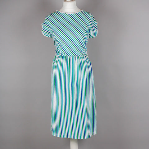 1980s easywear striped tee shirt midi dress