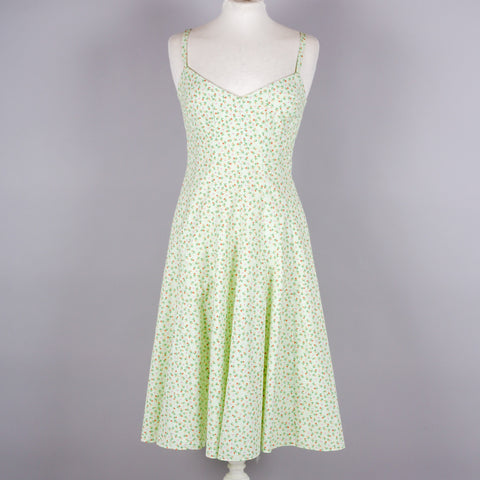 1980s pale green ditsy vintage sundress