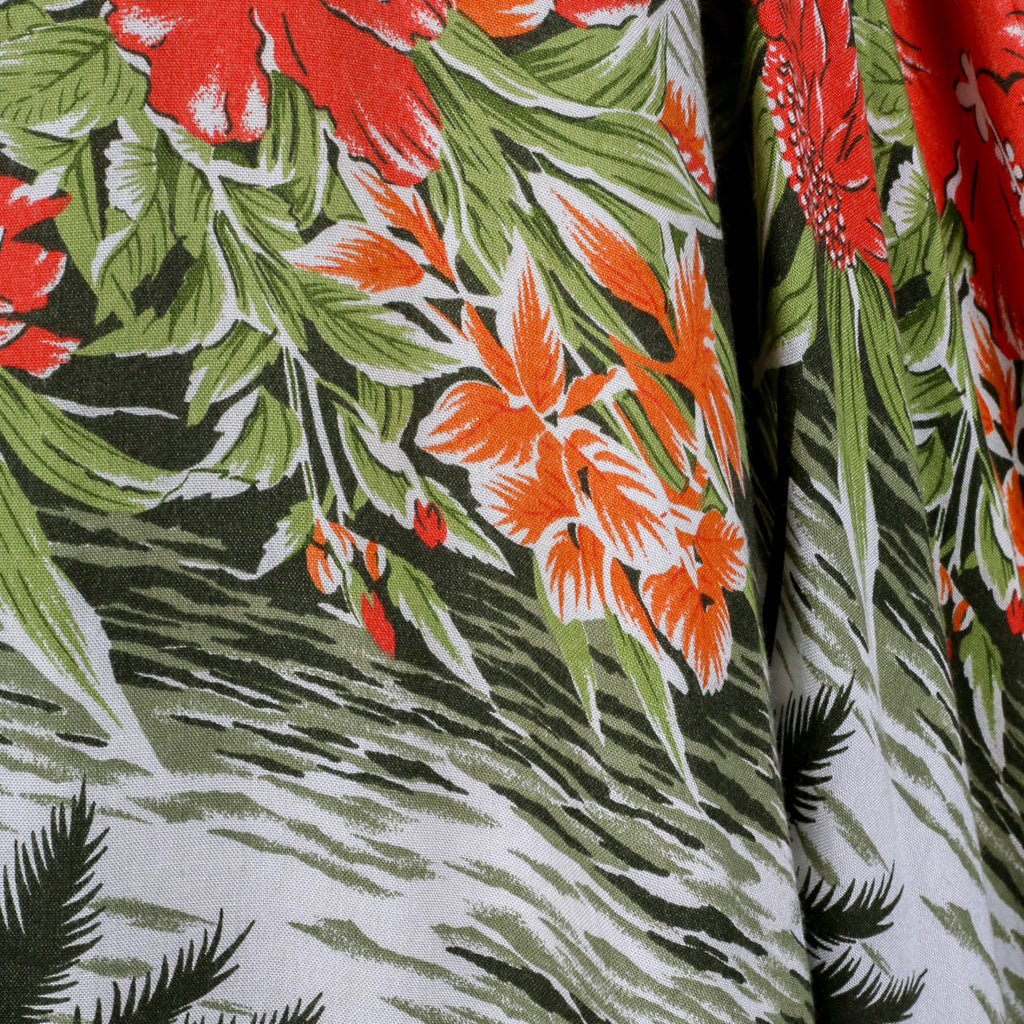1980s tropical print midi skirt