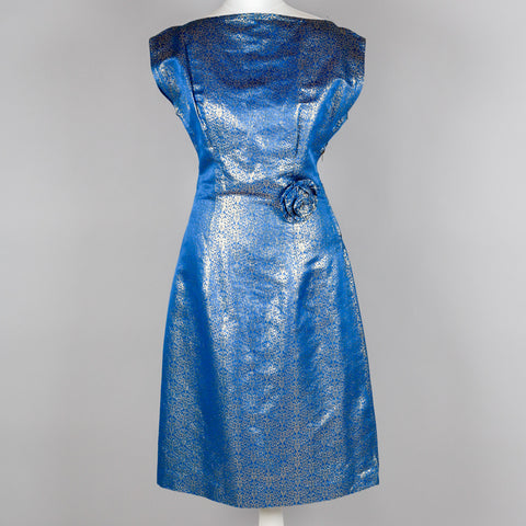 1950s blue & gold brocade vintage wiggle dress