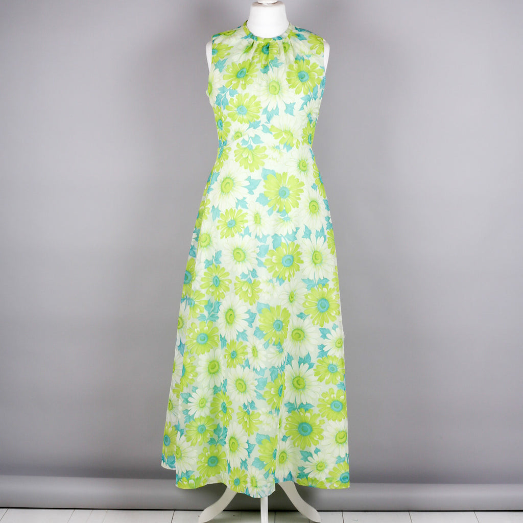 1970s daisy print vintage maxi dress