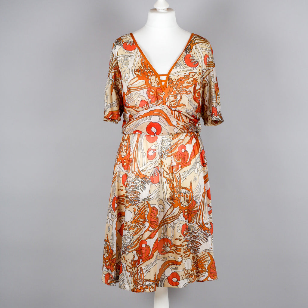 1970s abstract print vintage cocktail dress
