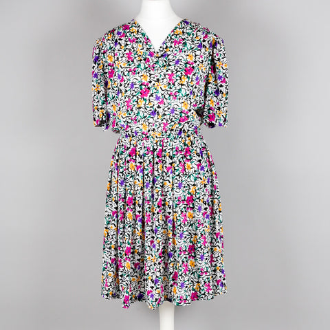 1980s silky floral vintage party dress