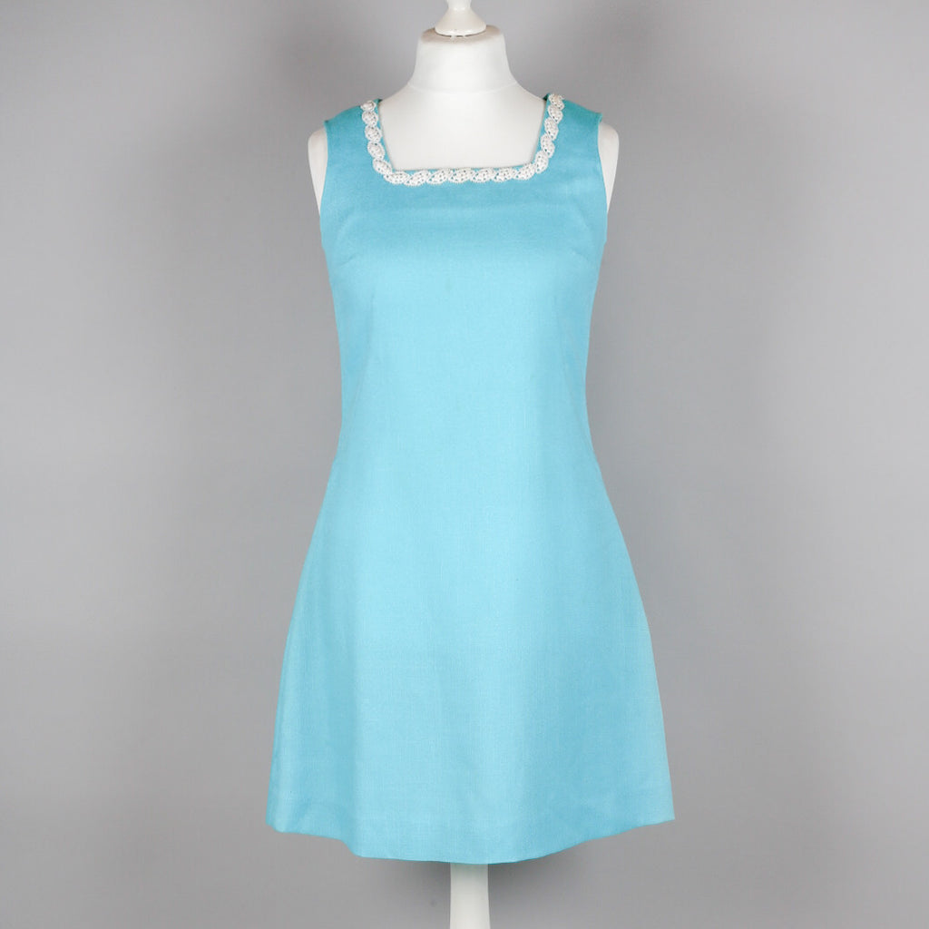 1960s turquoise vintage shift dress