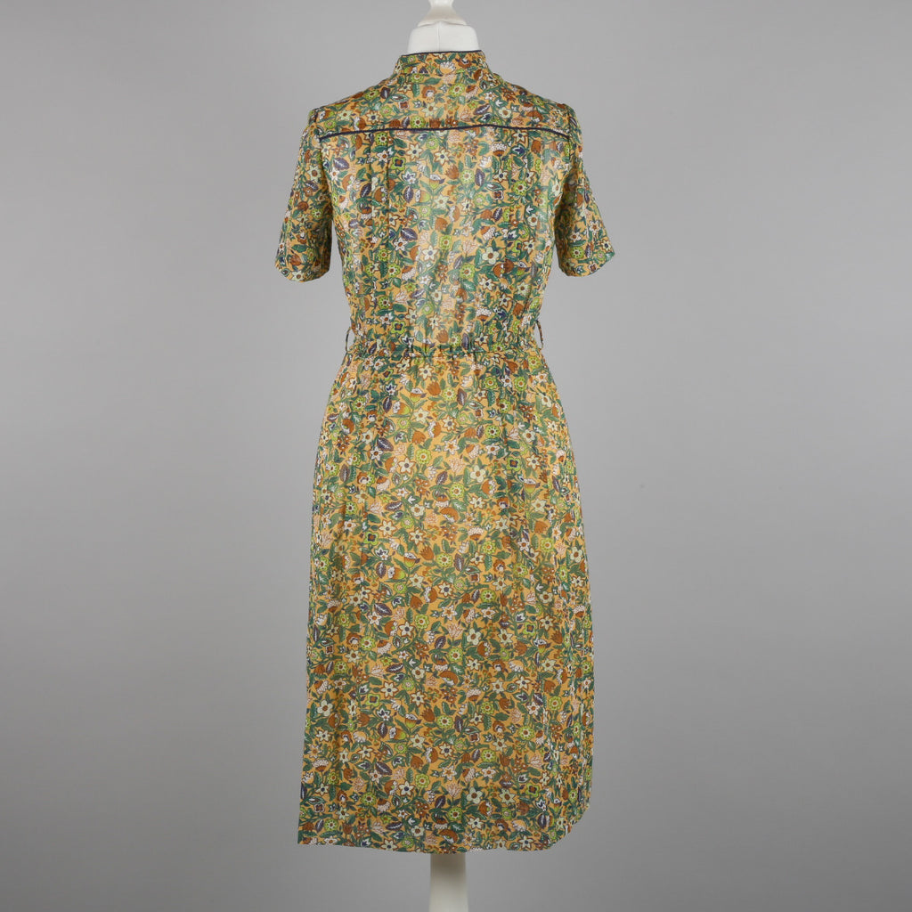 1980s autumnal floral print vintage dress