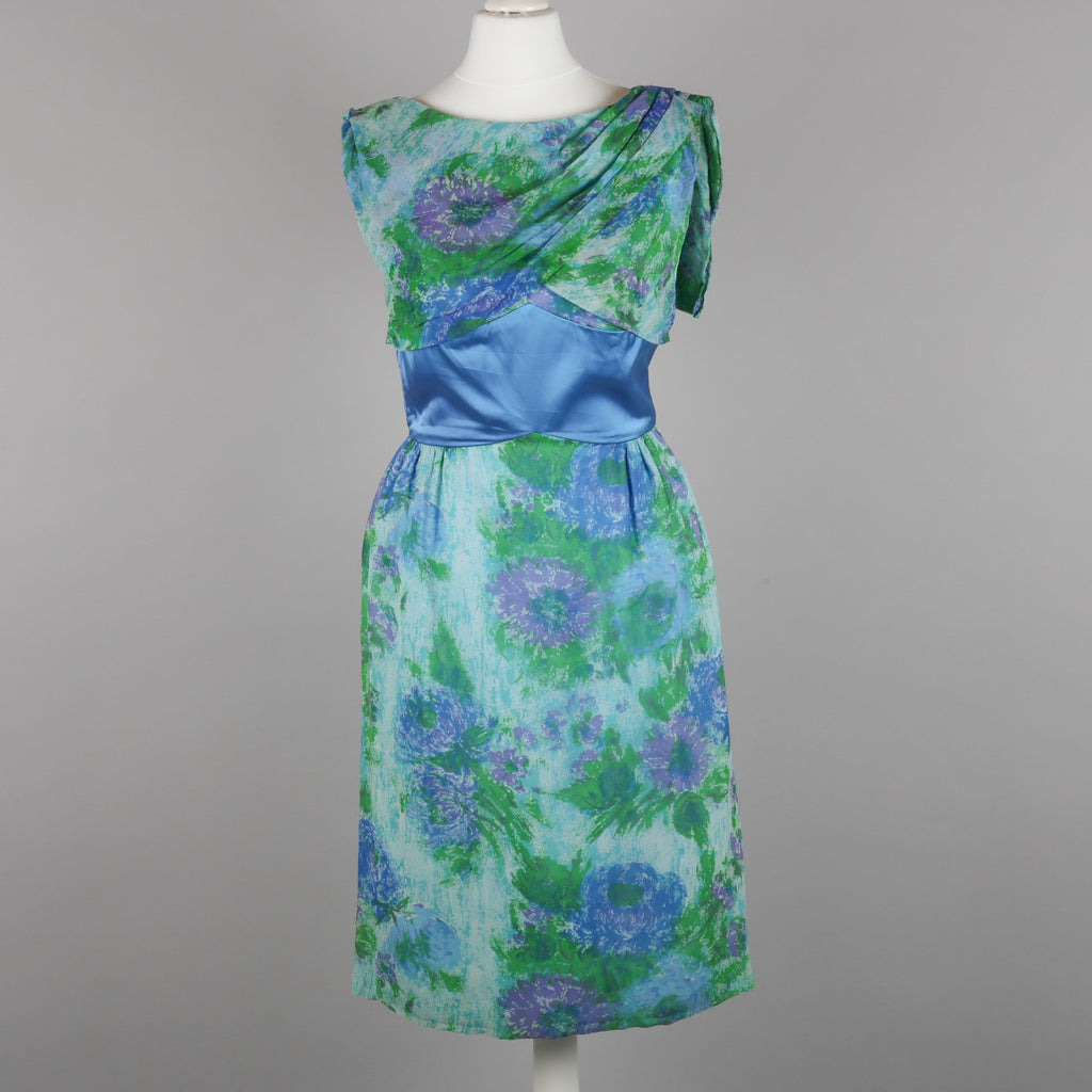 1950s impressionist print vintage cocktail dress
