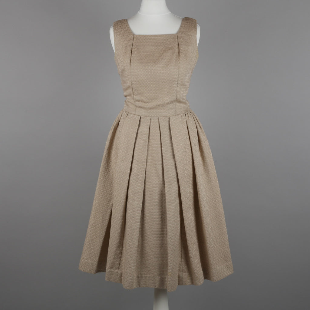 1950s elegant taupe vintage dress