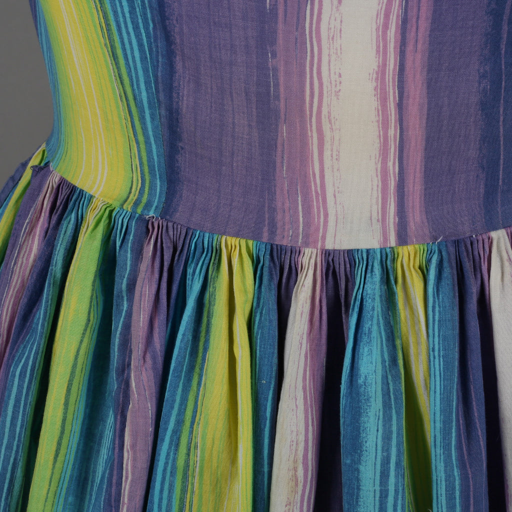 1960s brush stroke stripe vintage dress
