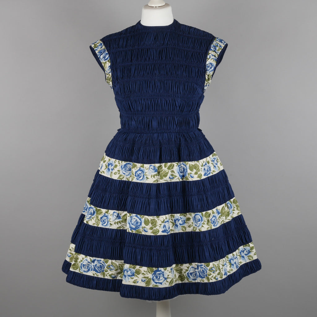 1950s navy and roses ruched vintage dress