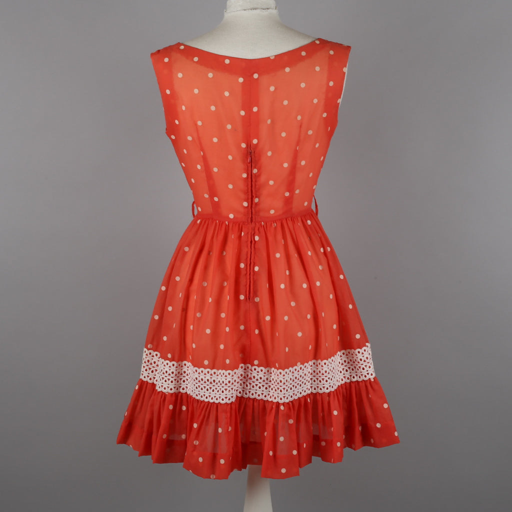 1960s coral polkadot vintage party dress