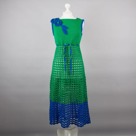 1970s hand crocheted vintage midi dress